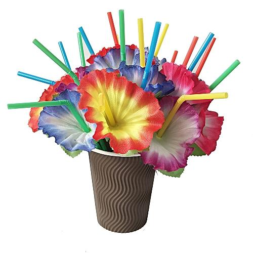 20Pcs Mixed Hawaiian Hula Beach Party Cocktail Flower Drinking Straws
