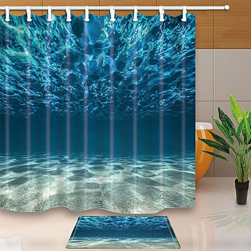 3D Sea Polyester Home Bathroom Decor Fabric Shower Curtain Liner Bath Mat Set# Shower Curtain