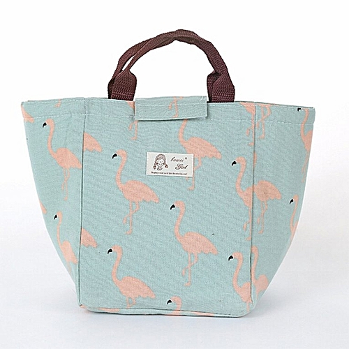 Korean Fashion Cartoon Animal Printed Canvas Outdoor Picnic Lunch Bag Green Flamingo