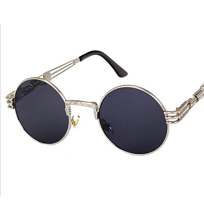 7d804abb27 Steampunk Round Sunglasses- Mirror Lens- Mens Vintage Retro Gothic Style  Sun Glasses-Silver