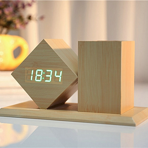 Voice-activated LED Carrying Pen Wooden Clock-green