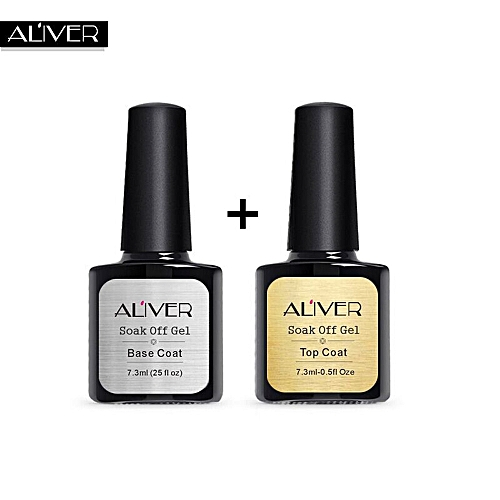 2 Pcs Top Coat Base Uv Diamond Nail Gel Polish Primer Art