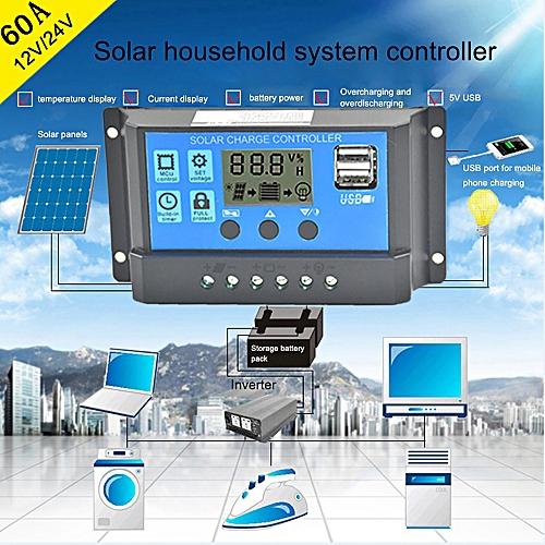 Haojks Solar Panel Regulator Charge Controller USB 60A 12V-24V With Dual USB Charger