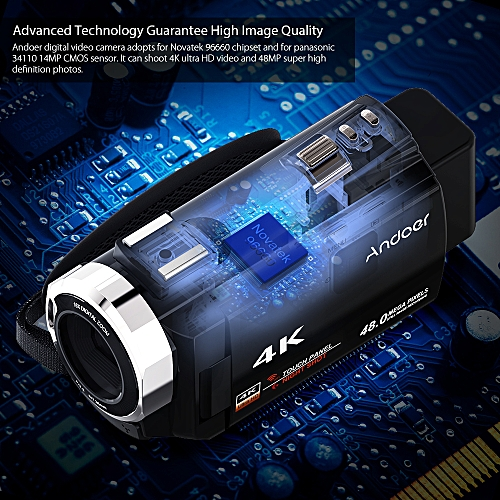 4K 1080P 48MP WiFi Digital Video Camera Camcorder Recorder With 2pcs Rechargeable Batteries Novatek 96660 Chip 3inch Touchscreen IR Infrared Night Sight 16X Zoom Cold Shoe Support External Microphone