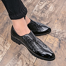 Men Pointed Formal Shoes Flat Carved Business Oxfords Black for sale  Nigeria