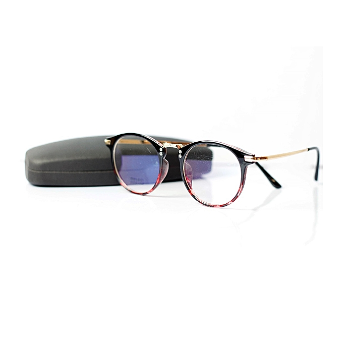 49723a248c Men Round Retro Eye Glasses Prescription Optical Frame With Case - Red Black