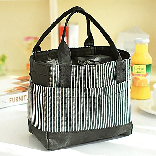 Square Striped Color Stitching Bag Lunch Tote Bag Mummy Bag