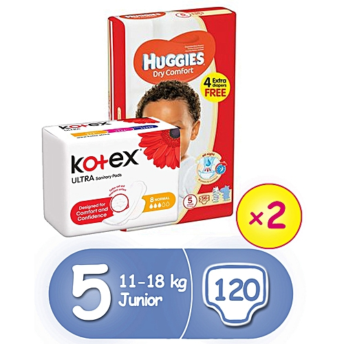 Dry Comfort Diapers Size 5(56x2) + 3 Free KOTEX Pads