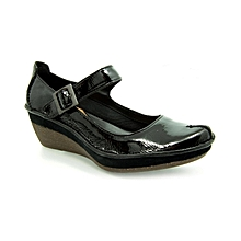 24acaf48117 Ladies Forest Glade Patent Leather Wedges - Black