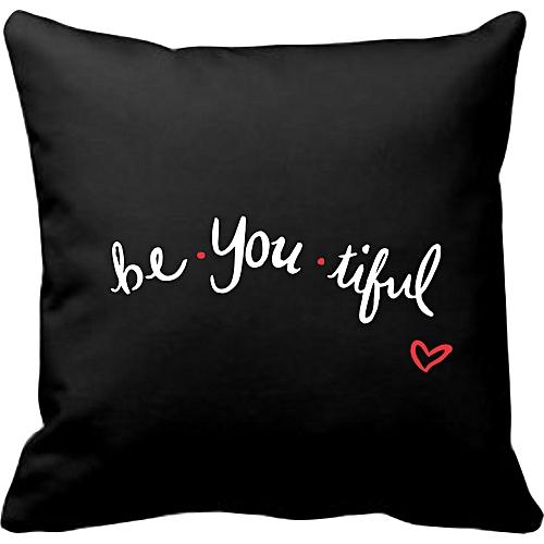 Be-you-tiful Throw Pillow- Black
