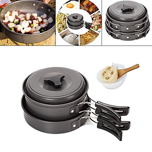 IPRee Outdoor 1-2 Persons Picnic Pan Pot Bowl Portable Tableware Cookware Utensil Cooking Set