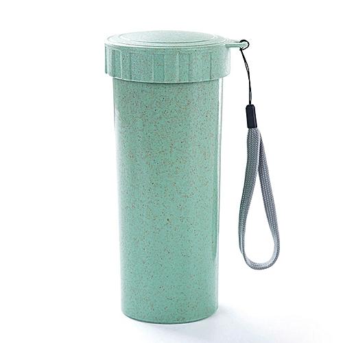 HOT Travel Mug Office Coffee Tea Water Bottle Cups Straw Wheat Plastlc Cup-Green