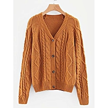 b418320c07 Button Through Cable Knit Sweater - Ginger