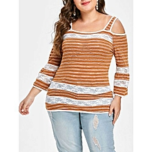 dc6f353494b Plus Size Open Shoulder Lace Insert Striped Knitwear - Chestnut Red
