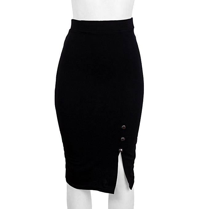 ddd122f722e059 21 Attire Black Pencil Skirt With Side Slit And Button Detail | Jumia NG