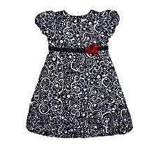 0204885348 Pretty Flowery Dress For Girls - Black