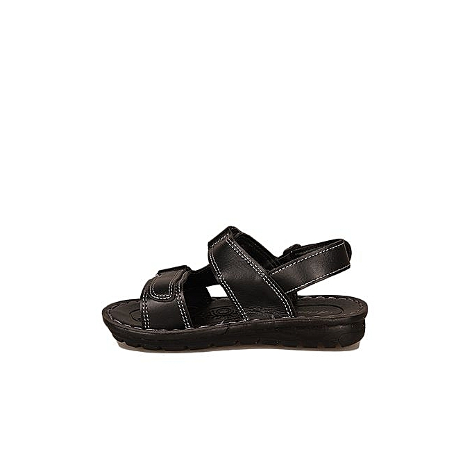 699f31e5414aed ... Kids Leather Sandals - Black ...