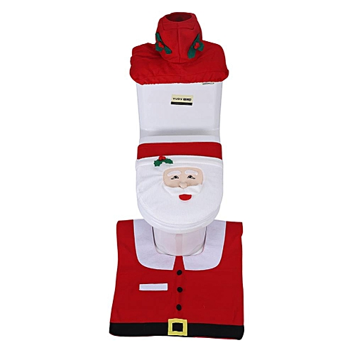 Santa Claus Toilet Seat Cover Rug Set Christmas Decoration Bathroom Xmas Fun