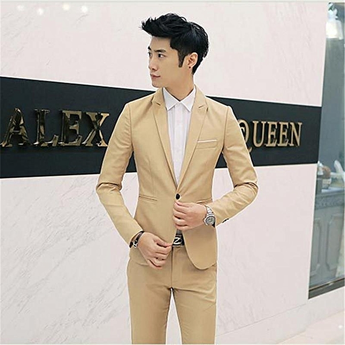 1ede2dcc8872 Khaki Korean Style Men Suit Coat Slim Suit Men's Jacket Solid Color Casual  Men's Clothing Work