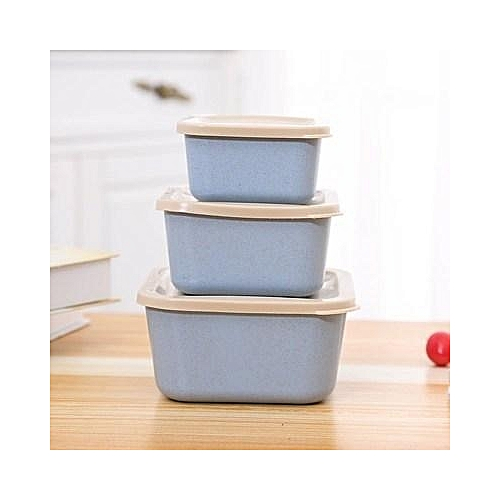 Wheat Straw 3 In 1 Fresh-keeping Box Environmental Protection Students Bento Lunch Box