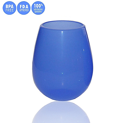 NEW Unbreakable Multi-Use Silicone Wine Glasses Stemless 9 & 12 Oz For Camping Hiking Daily Use (Blue, L)