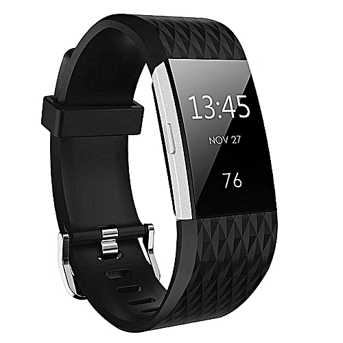Fitbit Charge 2 (Large Size) Replacement Band (Free Get One Black) Diamond-shaped Texture Soft Silicone Replacement Sport Strap Band For Fitbit Charge2 Fitness Wristband For Girls Boy Men Women By HonTai