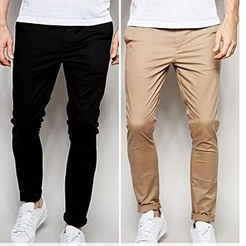 2-In-1 Men's Chino Trousers - Black/Brown