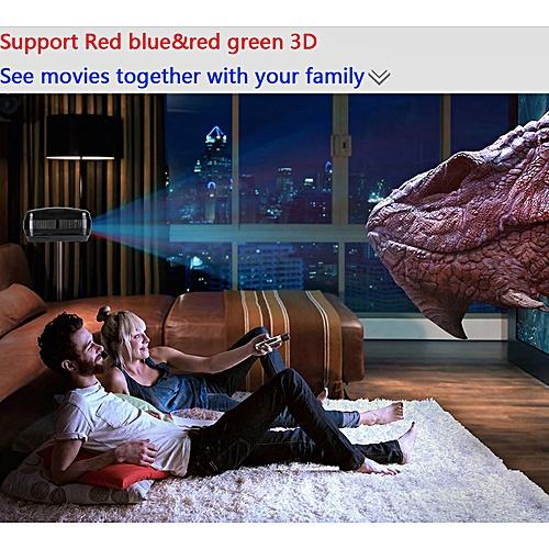 Guoaivo 3200lumens 1080P Multimedia HD LED Projector Micro Home Theater Projector BK -Black