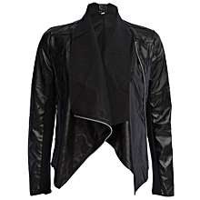 c436686ef0 Fashionable Turn-Down Collar Long Sleeve Zippered PU Leather Jacket For  Women - BLACK