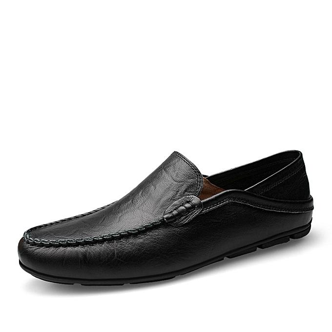 da38375e15 Mykhaki Men's Cow Leather Driving Shoes Slip-On Casual Shoes-Black ...