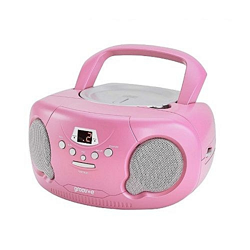 Portable CD Player Boombox With AM/FM Radio Pink