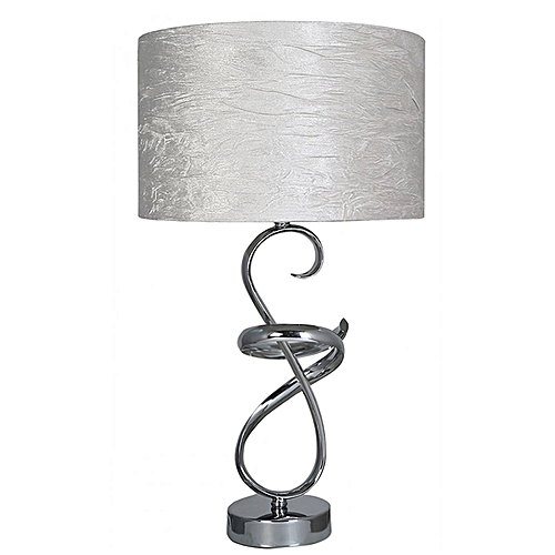 Swirl Metal Table Lamp With Ivory Shade