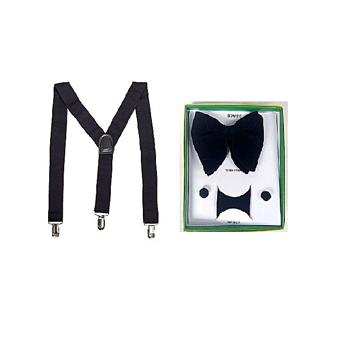 93966139dfe Fashion Suspenders Belt And Bow Tie With Cuff Links For Men - Black ...