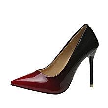 Technologg Shoes Women Fashion Gradient Color Patent Leather Shoes Pointed  Toe High-Heeled Shoes- 072d5aa8e4ce