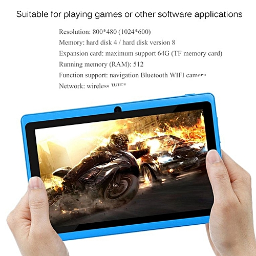 TA-7 Inch TFT Display HD 1080P Quad Core Dual Camera 512M+8G Tablet For Android*Blue