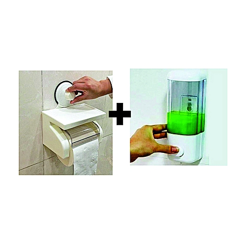 Tissue Holder With Super Suction Cup And Soap Dispenser