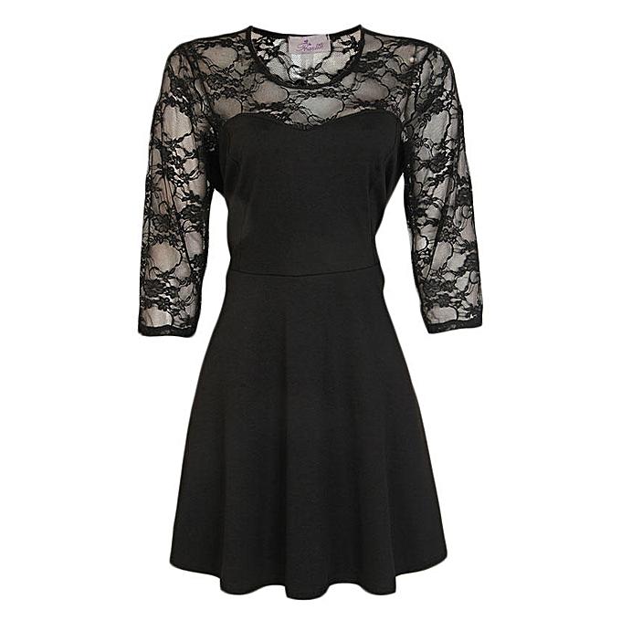 bb8b5011a1 Praslin Lace Detail Midi Skater Dress - Black