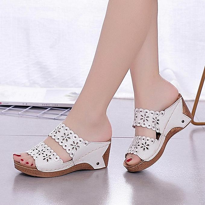 4094965a9c2b Fashion Women Casual Wedge Heel Flowers Hollow Peep Toe Sandals-EU ...