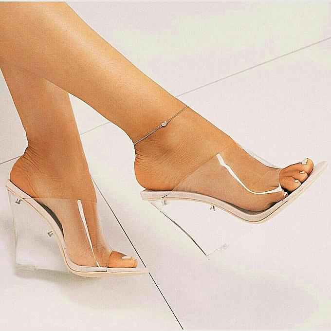 efc2713db07 Fashion Ladies Wedge Heel Transparent Shoe Slippers