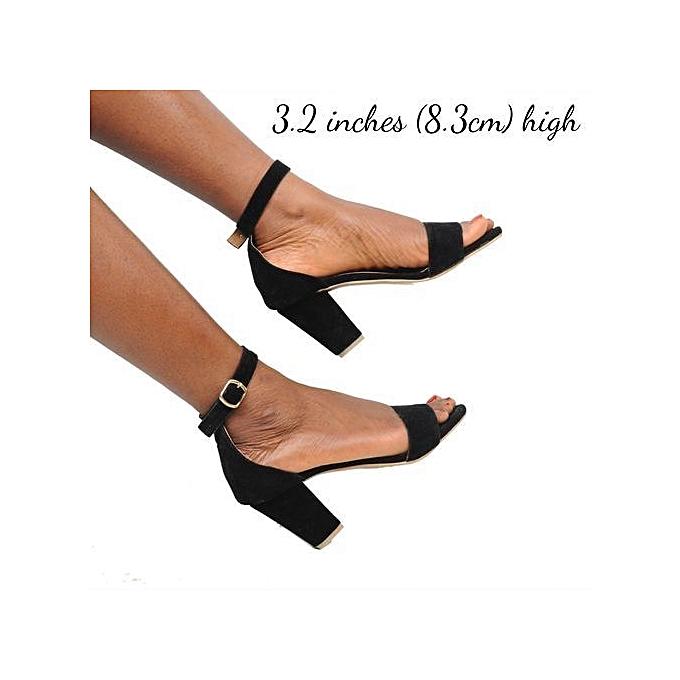 35a46ef48fc Ladies Ankle Strap Shoes Block Heel Sandal-Black