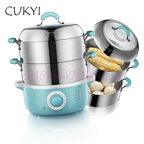 CUKYI Electric Food Steamer Large Capacity 2 Layers Household Multi-function 304 Stainless Steel Smart Timing Steamer