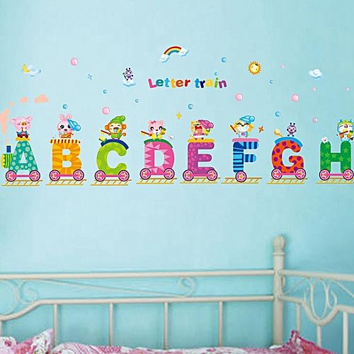 English Alphabets Train Rainbow Sun Wall Decal PVC Home Sticker House Vinyl Paper Decoration WallPaper Living Room Bedroom Kitchen Art Picture DIY Murals Girls Boys Kids Nursery Baby Playroom Decor 898945 Color-0