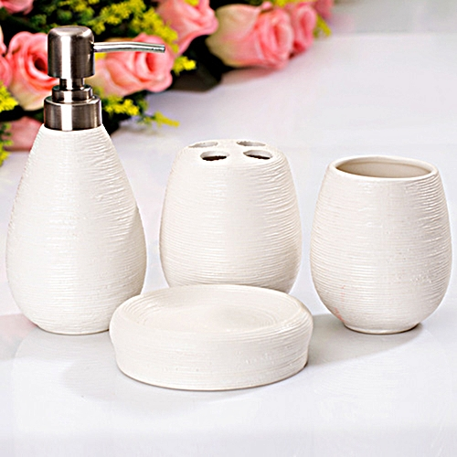 4pcs Bathroom Accessory Dispenser Set Ceramic Toothbrush Holder Cup Soap Dish