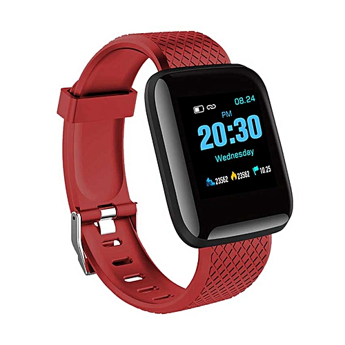 Smart Watch Heart Rate Monitor Fitness Tracker Watch (Red)