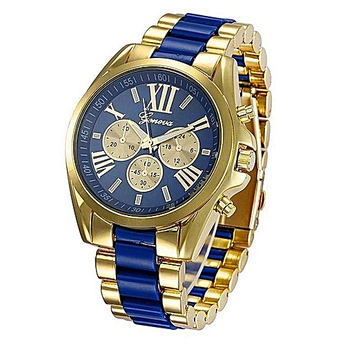 Geneva  Rhinestone Wrist Watch- Blue And Gold