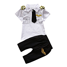 Baby Outfit Newborn Infant Baby Boys Girls Gentleman Tie Tops Shirt Pants 2Pcs Outfits Set-
