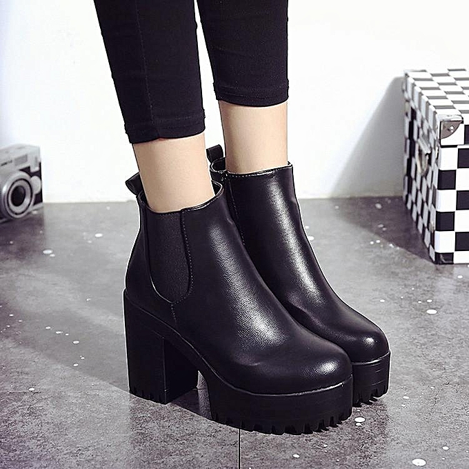 e45883576d WOMENS LADIES CHELSEA ANKLE BOOTS CHUNKY PLATFORMS BLOCK HIGH HEELS ZIPPER  SHOES