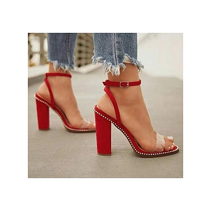 90699a58955 Women s High Heel Sandals With Studded Details And Transparent Strap - Red