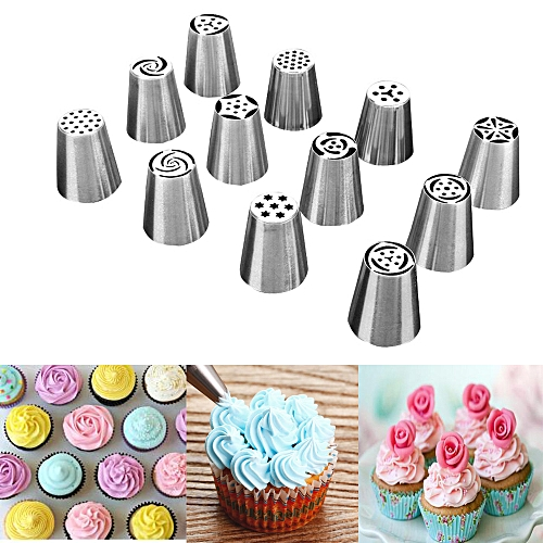 12pcs Russian Icing Piping Nozzle Tips Stainless Steel Cake Decorating Sugarcraf