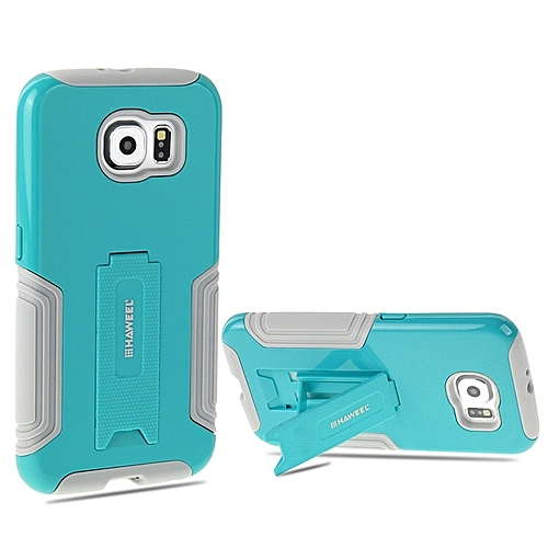 HAWEEL For Samsung Galaxy S6 / G920 Dual Layer TPU Plastic Combo Case With Kickstand(Baby Blue)